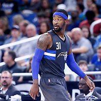 25 February 2017: Orlando Magic forward Terrence Ross (31) reacts during the Orlando Magic 105-86 victory over the Atlanta Hawks, at the Amway Center, Orlando, Florida, USA.