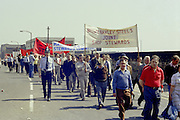 Brown Bayley Steels JSSC banner at the start of a march against anti trade union legislation. Sheffield 1980.