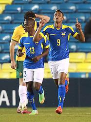 Fidel Martinez of Ecuador celebrates scoring his sides second goal - Photo mandatory by-line: Robin White/JMP - Tel: Mobile: 07966 386802 01/01/2014 - SPORT - FOOTBALL - The Den - Australia v Ecuador - World Cup Warm Up