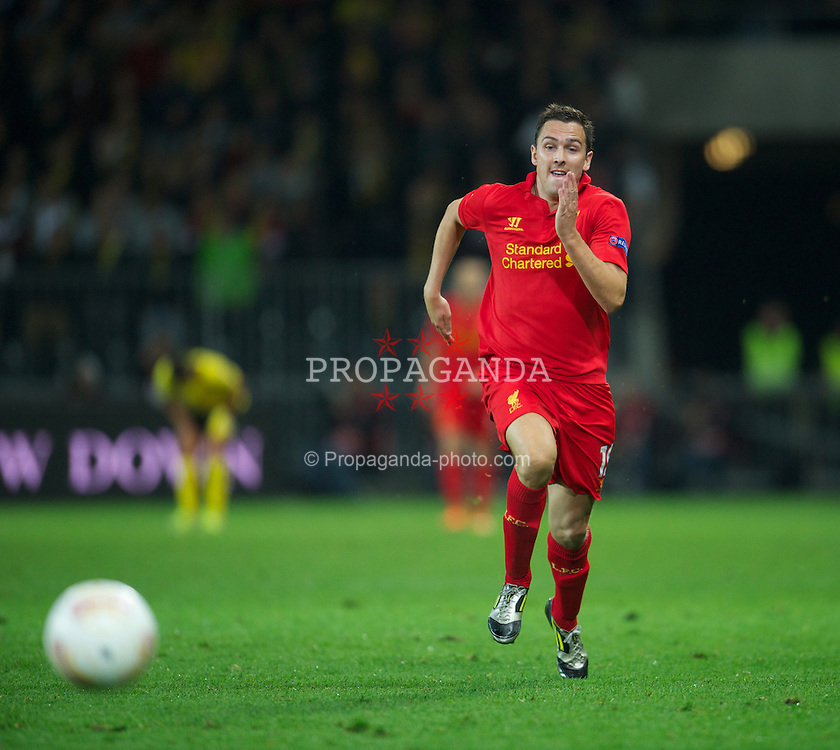 BERNE, SWITZERLAND - Thursday, September 20, 2012: Liverpool's Stewart Downing in action against BSC Young Boys during the UEFA Europa League Group A match at the Wankdorf Stadion. (Pic by David Rawcliffe/Propaganda)