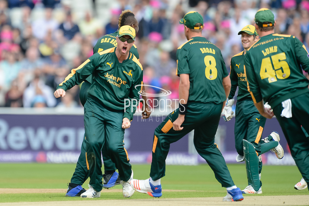 Dan Christian and Notts Outlaws celebrates the wicket of Adam Rossington during the NatWest T20 Blast Semi Final match between Nottinghamshire County Cricket Club and Northamptonshire County Cricket Club at Edgbaston, Birmingham, United Kingdom on 20 August 2016. Photo by David Vokes.