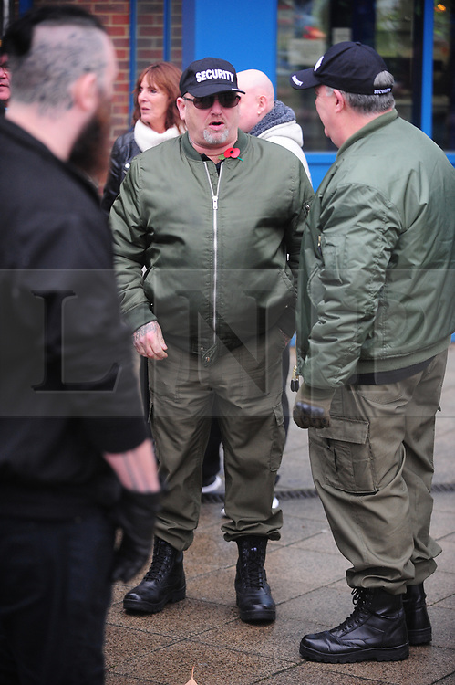 &copy; Licensed to London News Pictures.04/11/2017.<br /> BROMLEY, UK.<br /> BRITAIN FIRST SECURITY<br /> Britain First hold a Persecuted Patriots Rally outside Bromley Police Station, Bromley South.Party Leader Paul Golding and his deputy Jayda Fransen have to sign on bail every Saturday 2pm at Bromley Police station.<br /> Photo credit: Grant Falvey/LNP