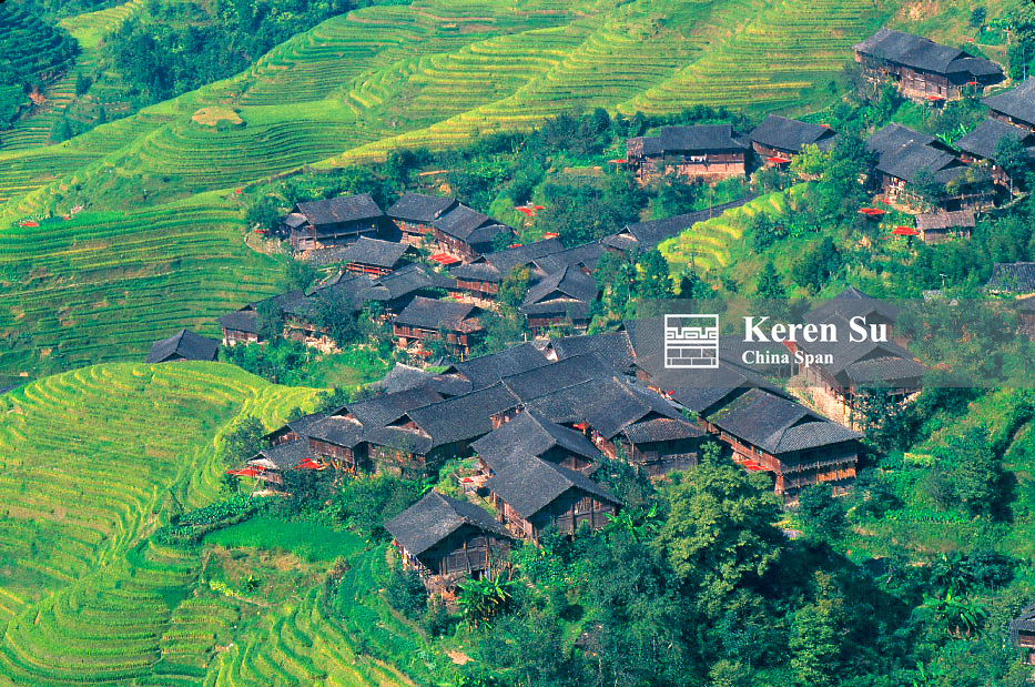 Local village with terraced rice paddies in the mountain, Longsheng, Guangxi Province, China