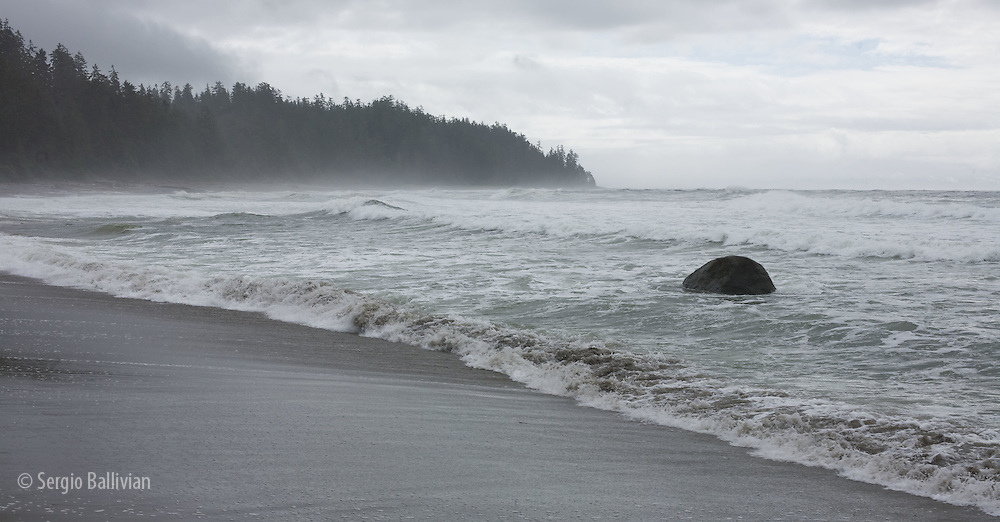 West Coast Trail - Day 5.  The beach and breaking surf as you head south from Chez Monique's restaurant