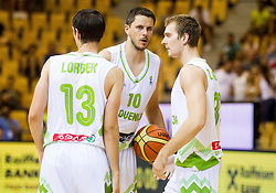 Domen Lorbek of Slovenia, Bostjan Nachbar of Slovenia and Zoran Dragic of Slovenia during friendly match between National teams of Slovenia and Latvia for Eurobasket 2013 on August 2, 2013 in Arena Zlatorog, Celje, Slovenia. Slovenia defeated Latvia 71-67. (Photo by Vid Ponikvar / Sportida.com)