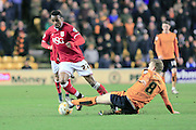 Jonathan Kodija, George Saville during the Sky Bet Championship match between Wolverhampton Wanderers and Bristol City at Molineux, Wolverhampton, England on 8 March 2016. Photo by Daniel Youngs.