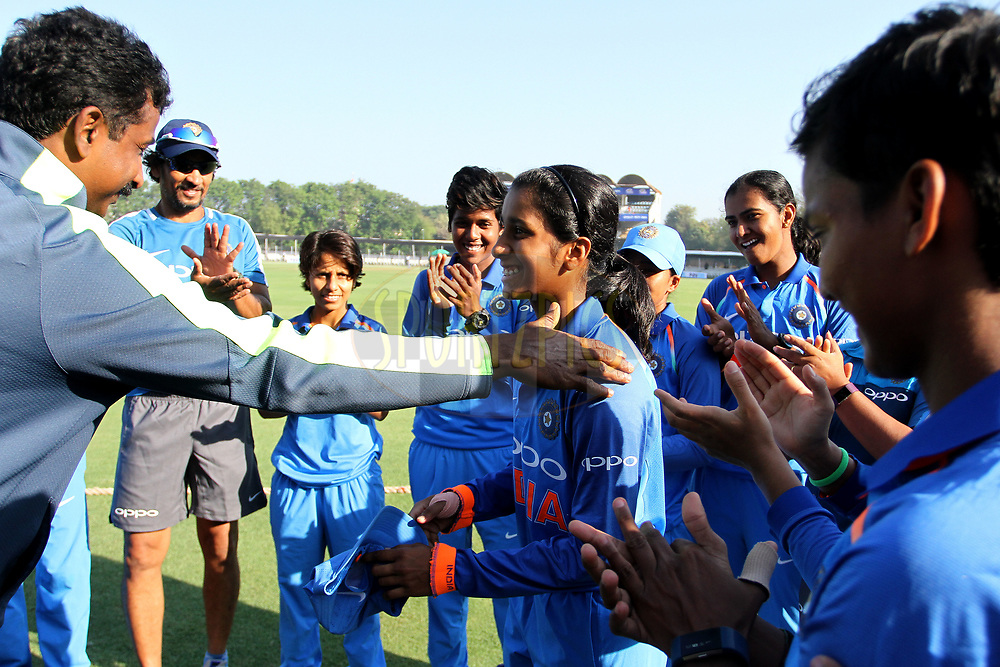 Jemimah Rodrigues of India receives her debut cap during the first women's one day International ( ODI ) match between India and Australia held at the Reliance Cricket Stadium in Vadodara, India on the 12th March 2018<br /> <br /> Photo by Vipin Pawar / BCCI / SPORTZPICS