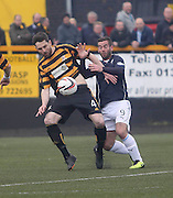 Alloa Athletic's Ben Gordon and Dundee's Peter MacDonald - Alloa Athletic v Dundee, SPFL Championship at Recreation Park, Alloa<br /> <br />  - &copy; David Young - www.davidyoungphoto.co.uk - email: davidyoungphoto@gmail.com