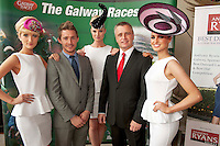 11/07/2012. .Catwalk models Linda Moran, Simona Vasiliauskaife and Leonie McGuigan with MJ Tierney and Paul Balfe from Topaz at the 2012 Galway Races Summer Festival, official launch  in the g Hotel, Galway. The seven day festival runs from Monday 30th July to Sunday 5th August. Photo:Andrew Downes. (first use repro free).