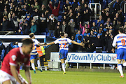 Reading forward Nick Blackman celebrates with fans after his goal during the Sky Bet Championship match between Reading and Bristol City at the Madejski Stadium, Reading, England on 2 January 2016. Photo by Jemma Phillips.