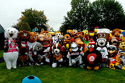 ALL MASCOTS LINE UP IN THE RING FOR A PICTURE, John Smiths Mascot Grand National, Huntingdon Racecourse Sunday 5th October 2008
