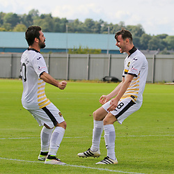 Dimitrios Froxylias (left) celebrates with the scorer David Wilson during the Dumbarton v Connah's Quay Nomads Irn Bru cup second round 2 September 2017<br /> <br /> <br /> <br /> <br /> (c) Andy Scott | SportPix.org.uk