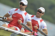 Hamilton, NEW ZEALAND.  SUI M2X. Bow, Andre VONARBURG and Florian STOFER, competing in the semi final of the men's double sculls. 2010 World Rowing Championships, Lake Karapiro. Wednesday - 03.11.2010, [Mandatory Credit Peter Spurrier:Intersport Images].