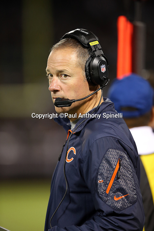 Chicago Bears offensive coordinator Aaron Kromer looks on from the sideline during the NFL preseason week 3 football game against the Oakland Raiders on Friday, Aug. 23, 2013 in Oakland, Calif. The Bears won the game 34-26. ©Paul Anthony Spinelli