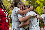 Zoe Harrison hugs Jess Breach after she scored a try, U20 England Women v U20 Canada Women at Trent College, Derby Road, Long Eaton, England, on 26th August 2016