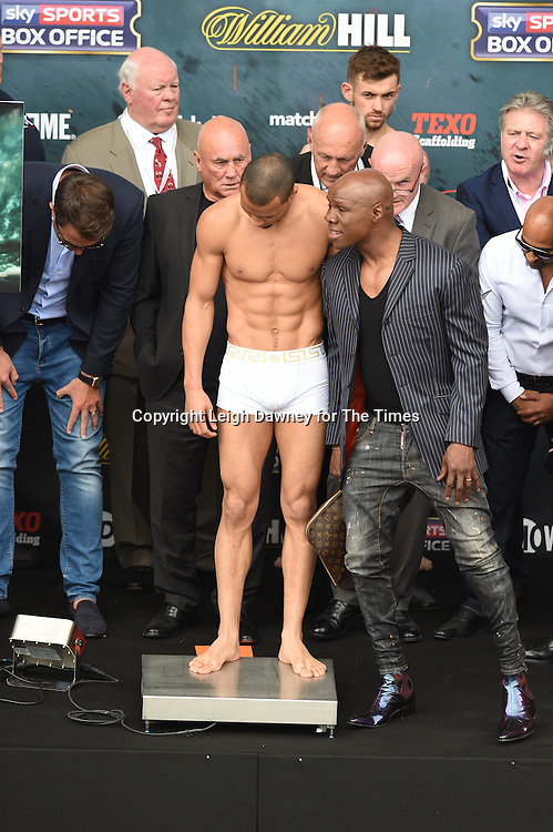 Chris Eubank Jnr (L) and his father Chris Eubank at their weigh in at the West Piazza, Covent Garden, London on the 24th June 2016 ahead of Jnr's fight with Tom Doran for the British Middleweight Title. © Leigh Dawney for The Times.