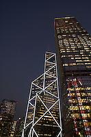 China Hong Kong New Bank of China illuminated at night low angle view
