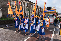 © Licensed to London News Pictures. 29/09/2019. Bristol, UK. Sikh procession through the St George area of Bristol to celebrate 550 years since the birth of Sri Guru Nanak Dev Jee, the founder of the Sikh faith. Photo credit: Simon Chapman/LNP.