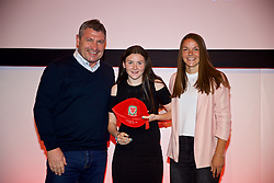 NEWPORT, WALES - Saturday, May 19, 2018: Cerys Bevan is presented with her Under-16's cap by Osian Roberts (left) and Lauren Dykes (right) during the Football Association of Wales Under-16's Caps Presentation at the Celtic Manor Resort. (Pic by David Rawcliffe/Propaganda)