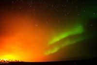 The Holuhraun volcano eruption, with simultaneous northern lights (aurora borealis). Bardarbunga volcanic system, Iceland.