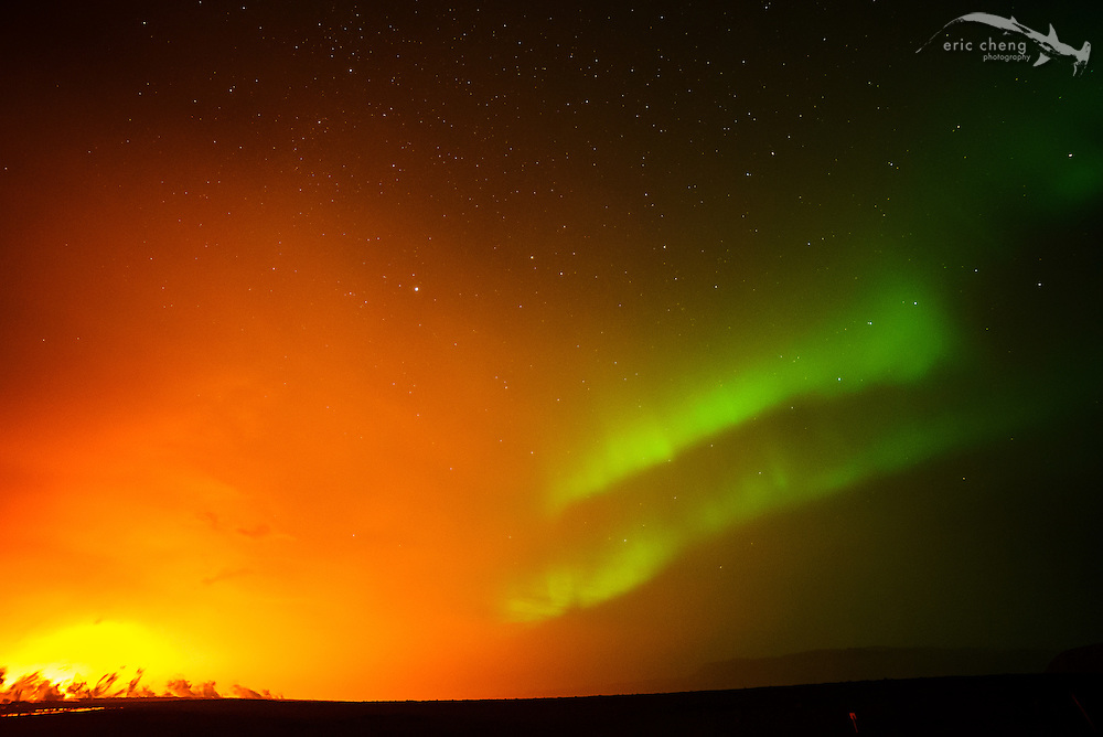 The Holuhraun volcano eruption, with simultaneous northern lights (aurora borealis). Bardarbunga volcanic system, Iceland.