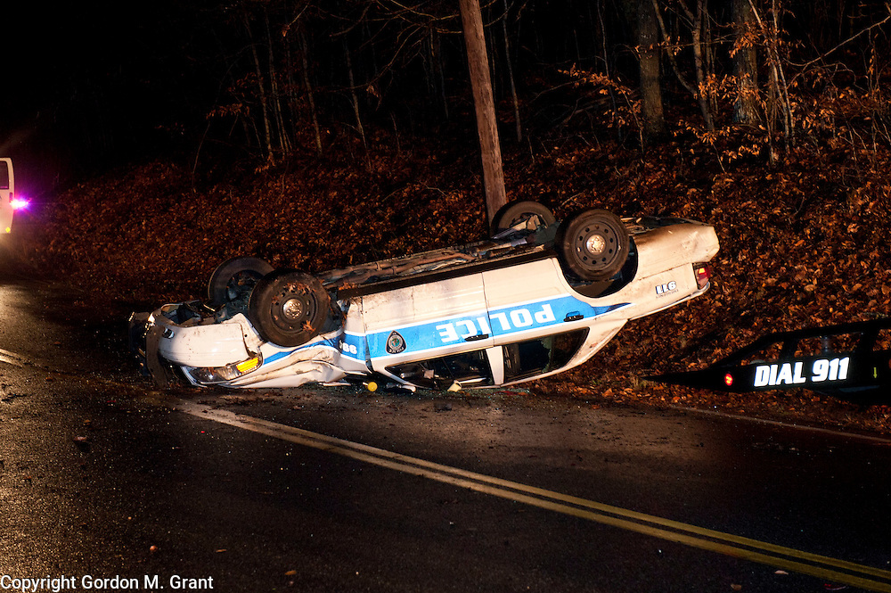An East Hampton Town Police car that was involved in a one car accident while responding to a call, on Old Stone Highway in Amagansett late Wednesday night. (December 22, 2011)