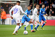 Peterborough Utd defender Tyler Denton (23) defending against Coventry City defender Dujon Sterling the EFL Sky Bet League 1 match between Peterborough United and Coventry City at London Road, Peterborough, England on 16 March 2019.