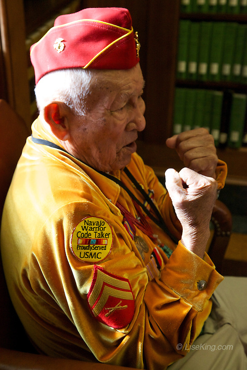 "Navajo Code Talker George James describes his recent bout - with his horse. He said he held tight before being thrown by the mare. The response from fellow Code Talker Peter MacDonald's wife: ""That's a woman for you."""