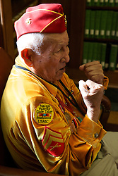 """Navajo Code Talker George James describes his recent bout - with his horse. He said he held tight before being thrown by the mare. The response from fellow Code Talker Peter MacDonald's wife: """"That's a woman for you."""""""