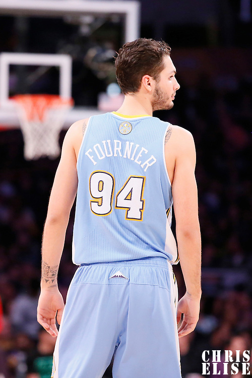 05 January 2014: Denver Nuggets shooting guard Evan Fournier (94) rests during the Denver Nuggets  137-115 victory over the Los Angeles Lakers at the Staples Center, Los Angeles, California, USA.