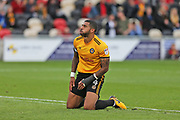 Newport  Joss Labadie (4) misses a chance on goal during the EFL Sky Bet League 2 match between Newport County and Yeovil Town at Rodney Parade, Newport, Wales on 7 October 2017. Photo by Gary Learmonth.
