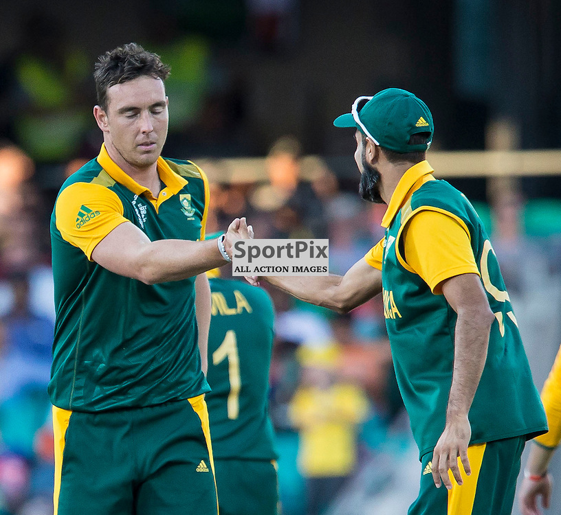 ICC Cricket World Cup 2015 Tournament Match, South Africa v West Indies, Sydney Cricket Ground; 27th February 2015<br /> South Africa&rsquo;s Imran Tahir (right) congratulates South Africa&rsquo;s Kyle Abbott