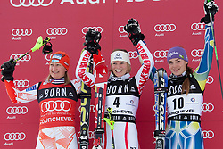 21.12.2010, Stade Emile Allais, Courchevel, FRA, FIS World Cup Ski Alpin, Ladies, Slalom, im Bild Tina Maze (SLO) 3rd place, Tanja Poutiainen (FIN) 2nd place and Marlies Schild (AUT) winner at the presentation ceremony of the FIS Alpine skiing World Cup ladies slalom race in Courchevel 1850, France. EXPA Pictures © 2010, PhotoCredit: EXPA/ M. Gunn