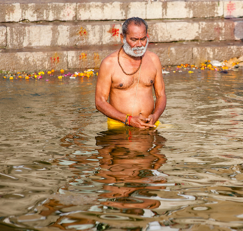 Man bathing in the #Ganges River in #Varanasi #India. #religion #travelphotography #hinduism