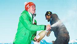 11.02.2017, Medal Plaza, Hochfilzen, AUT, IBU Weltmeisterschaften Biathlon, Hochfilzen 2017, Sprint Herren, im Bild Sieger und Weltmeister Benedikt Doll (GER, Goldmedaillen Gewinner), Martin Fourcade (FRA, Bronzemedaillen Gewinner)// World Champion and Gold Medalist Benedikt Doll of Germany, bronze Medalist Martin Fourcade of France  during Winner Ceremony of the Mens Sprint of the IBU Biathlon World Championships during Winner Ceremony of the Mens Sprint of the IBU Biathlon World Championships at the Medal Plaza in Hochfilzen, Austria on 2017/02/11. EXPA Pictures © 2017, PhotoCredit: EXPA/ JFK