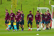 England players laughing and joking during the England Training Session at St George's Park National Football Centre, Burton-Upon-Trent, United Kingdom on 7 October 2015. Photo by Aaron Lupton.