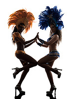 two women samba dancer dancing silhouette on white background