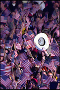 Austin, Texas, USA, November 8th 2000:   Crowds of Bush supporters cheer and wave American flags outside the Capitol building in Austin after CNN announces George W. Bush as the winner of the 2000 Presidential election.
