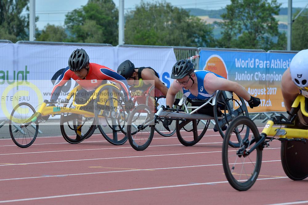 04/08/2017; Poot Uitz, Juan Adonay, T53, MEX, Wakiyama, Riku, T54, JPN, Ristiranta, Niko, FIN at 2017 World Para Athletics Junior Championships, Nottwil, Switzerland