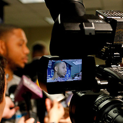 December 17, 2011; New Orleans, LA, USA; A camera films an interview with New Orleans Hornets guard Eric Gordon during a press conference to introduce players acquired from the Los Angeles Clippers in the Chris Paul trade prior to team scrimmage at the New Orleans Arena.   Mandatory Credit: Derick E. Hingle-US PRESSWIRE