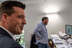 Pictured: Mr Hepburn interupted Matt Weaver who was working on an annual report<br /><br />Business Minister Jamie Hepburn visited Whitespace design agency in Edinburgh today to formally launch the Future Skills Action Plan.<br /><br />Mr Hepburn was given a tour of the agency's office and launched the new plan which aims to help Scotland's workforce acquire the necessary skills to address issues such as EU exit, rapid technological changes and the climate emergency.<br /><br />Ger Harley | EEm 10 September 2019
