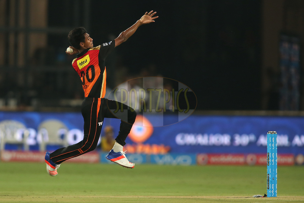 Mustafizur Rahman of Sunrisers Hyderabad sends down a delivery during match 22 of the Vivo IPL 2016 (Indian Premier League) between the Sunrisers Hyderabad and the Rising Pune Supergiants held at the Rajiv Gandhi Intl. Cricket Stadium, Hyderabad on the 26th April 2016<br /> <br /> Photo by Shaun Roy / IPL/ SPORTZPICS