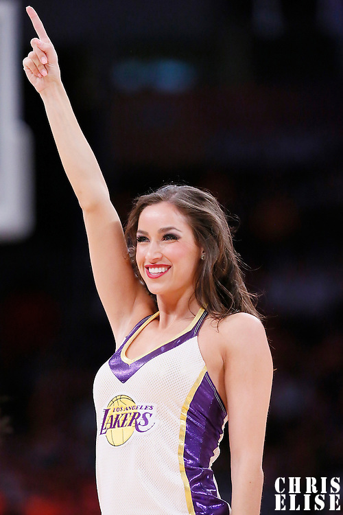 09 March 2014: A Laker Girl performs during the Los Angeles Lakers 114-110 victory over the Oklahoma City Thunder at the Staples Center, Los Angeles, California, USA.