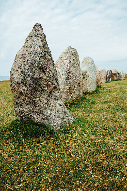 A view of the stones lined up next to each other