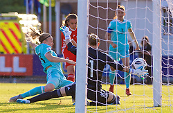 NEWPORT, WALES - Tuesday, June 12, 2018: Wales' Kayleigh Green scores the first goal during the FIFA Women's World Cup 2019 Qualifying Round Group 1 match between Wales and Russia at Newport Stadium. (Pic by David Rawcliffe/Propaganda)