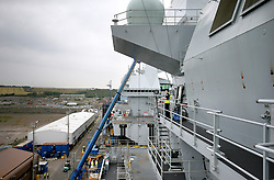 A view along the starboard side of the Royal Navy's new aircraft carrier HMS Queen Elizabeth, at Rosyth Dockyard in Dunfermline.