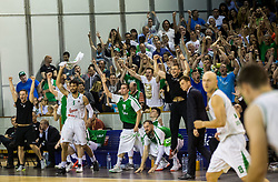 Players and fans of Union Olimpija celebrate during basketball match between KK Union Olimpija and KK Rogaska in 4th Final game of Liga Nova KBM za prvaka 2016/17, on May 24, 2017 in Hala Tivoli, Ljubljana, Slovenia. Photo by Vid Ponikvar / Sportida