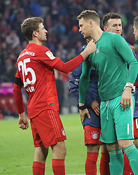25.01.2020, Allianz Arena, Muenchen, GER, 1. FBL, FC Bayern Muenchen vs Schalke 04, 19. Runde, im Bild Jubel nach Spielende - Thomas Müller und Manuel Neuer // during the German Bundesliga 19th round match between FC Bayern Muenchen and Schalke 04 at the Allianz Arena in Muenchen, Germany on 2020/01/25. EXPA Pictures © 2020, PhotoCredit: EXPA/ SM<br /> <br /> *****ATTENTION - OUT of GER*****