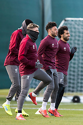 LIVERPOOL, ENGLAND - Monday, February 18, 2019: Liverpool's Alberto Moreno, Alex Oxlade-Chamberlain and Mohamed Salah during a training session at Melwood ahead of the UEFA Champions League Round of 16 1st Leg match between Liverpool FC and FC Bayern München. (Pic by Paul Greenwood/Propaganda)