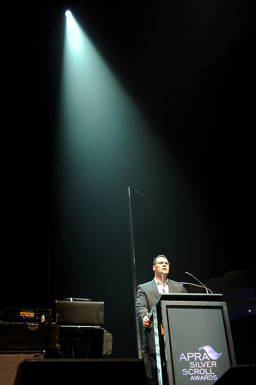 Grant Hawke welcomes guests to the APRA Silver Scroll Awards 2012. Auckland Town Hall. 13 September 2012.